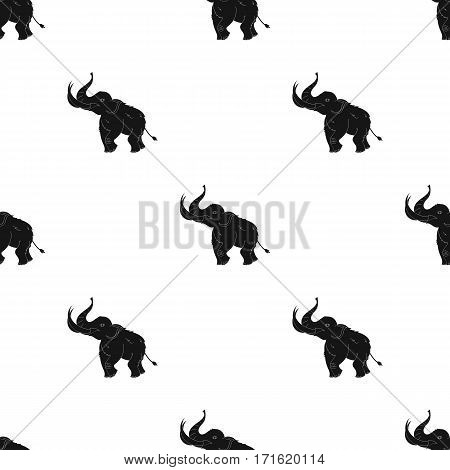 Woolly mammoth icon in black style isolated on white background. Stone age pattern vector illustration.