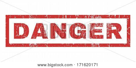 Danger text rubber seal stamp watermark. Caption inside rectangular banner with grunge design and scratched texture. Horizontal vector red ink sign on a white background.