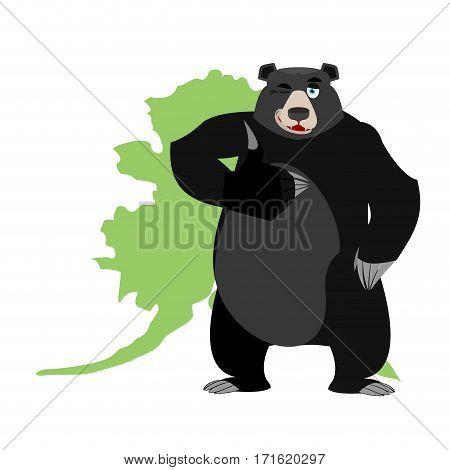 Baribal And Alaska Map. American Black Bear