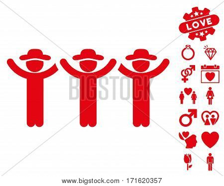 Gentlemen Hands Up Roundelay icon with bonus decoration clip art. Vector illustration style is flat iconic red symbols on white background.