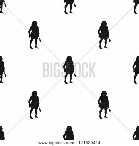 Primitive man with truncheon icon in black style isolated on white background. Stone age pattern vector illustration.