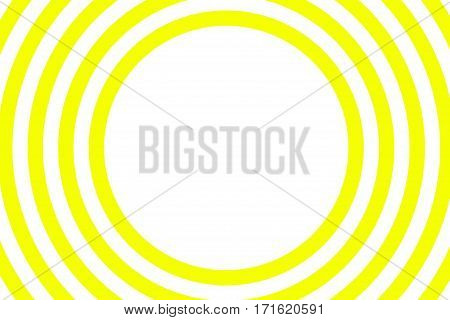 Illustration of yellow and white concentric circles with space in the center