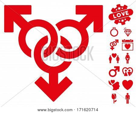 Group Gay Sex pictograph with bonus love pictograph collection. Vector illustration style is flat iconic red symbols on white background.