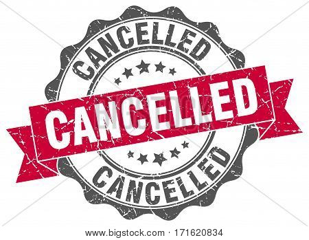 cancelled. stamp. sign. seal. round. retro. ribbon