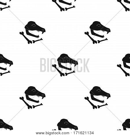 Dinosaur fossils icon in black style isolated on white background. Stone age pattern vector illustration.