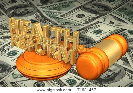 Health Reform Legal Gavel Concept 3D Illustration