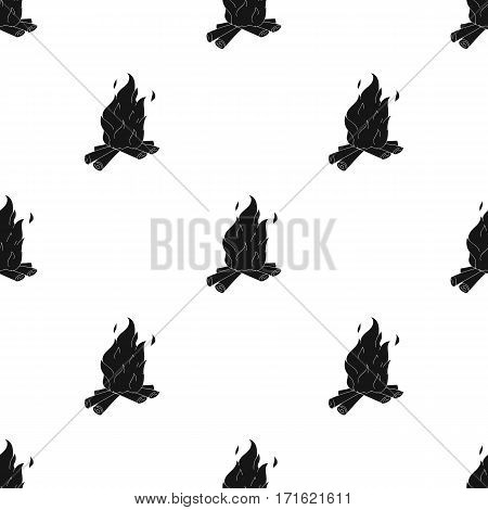 Campfire of stone age icon in black style isolated on white background. Stone age pattern vector illustration.