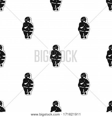Venus of stone age icon in black style isolated on white background. Stone age pattern vector illustration.