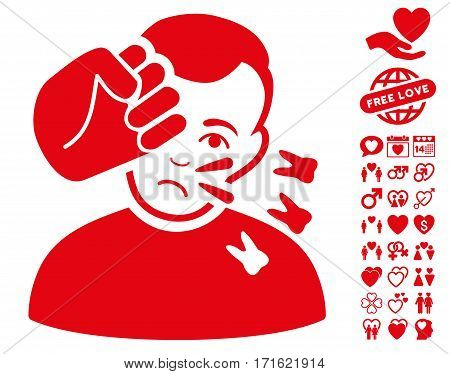 Head Strike icon with bonus valentine graphic icons. Vector illustration style is flat iconic red symbols on white background.