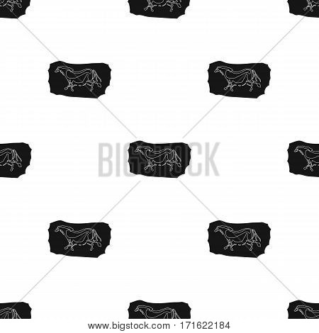 Cave painting icon in black style isolated on white background. Stone age pattern vector illustration.