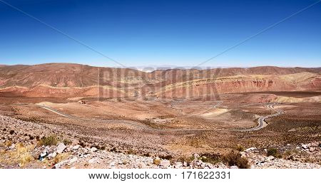 Curves of ruta 52 in the valley to Salinas Grandes (Argentina)