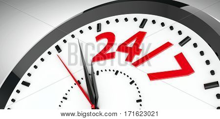 Black clock with 24/7 represents 24 hours service three-dimensional rendering 3D illustration