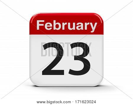 Calendar web button - The Twenty Third of February three-dimensional rendering 3D illustration