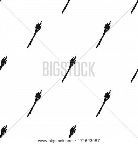 Torch icon in black style isolated on white background. Stone age pattern vector illustration.