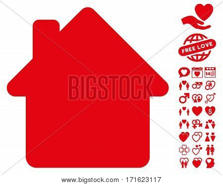 House icon with bonus amour pictures. Vector illustration style is flat iconic red symbols on white background.