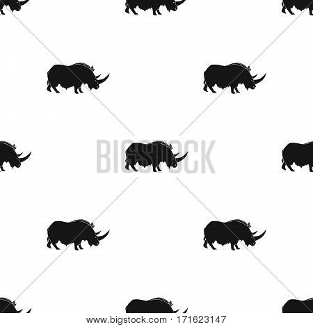 Woolly rhinoceros icon in black style isolated on white background. Stone age pattern vector illustration.