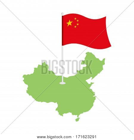 China Map And Flag. Chinese Resource And Land Area. State Patriotic Sign