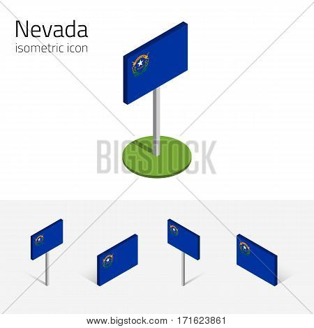 Flag of Nevada (State of Nevada, USA), vector set of isometric flat icons, 3D style, different views. Editable design element for banner, website, presentation, infographic, map, collage, card