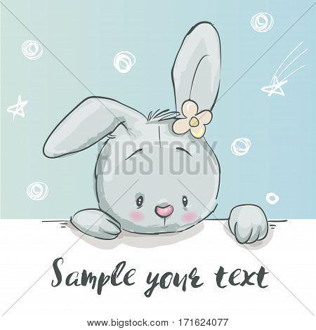 cute little cartoon hare head with flower