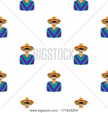 Mexican man in sombrero and poncho icon in cartoon style isolated on white background. Mexico country pattern vector illustration.