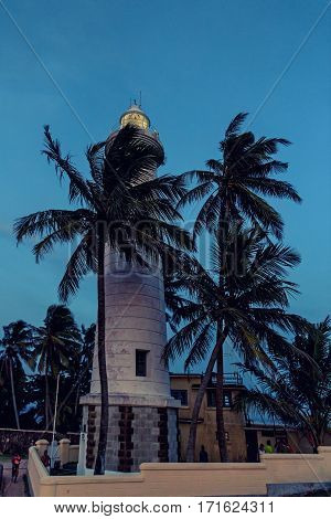 Beautiful evening view with lighthouse in old colonial fort Galle in Sri Lanka
