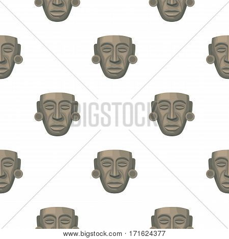 Mayan mask icon in cartoon style isolated on white background. Mexico country pattern vector illustration.