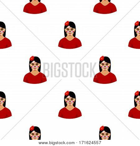 Mexican woman with calavera make up icon in cartoon style isolated on white background. Mexico country pattern vector illustration.