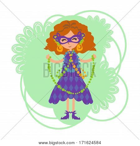 The girl in a mask with beads on Mardi gras celebration. Mask with feathers and gold earrings. Fancy-dress ball