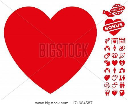 Love Heart pictograph with bonus dating pictograph collection. Vector illustration style is flat iconic red symbols on white background.