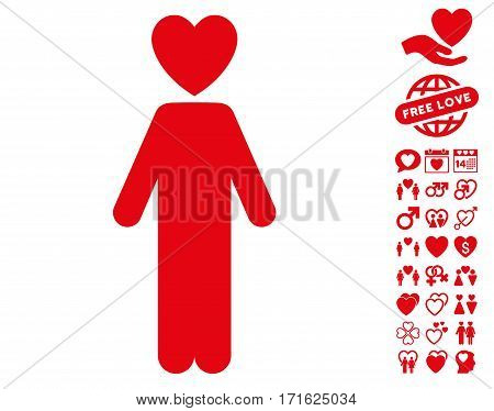 Lover Man pictograph with bonus amour pictograph collection. Vector illustration style is flat iconic red symbols on white background.