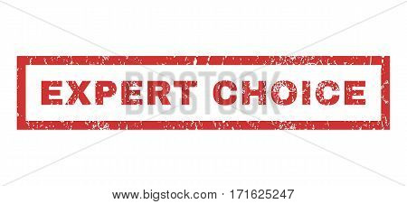 Expert Choice text rubber seal stamp watermark. Tag inside rectangular banner with grunge design and dirty texture. Horizontal vector red ink emblem on a white background.