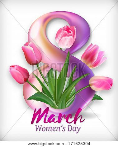 Greeting banner with tulip flower and lettering. 8 March - International Womens Day. Pink tulips arranged inside and outside of a figure eight. Illustration EPS10