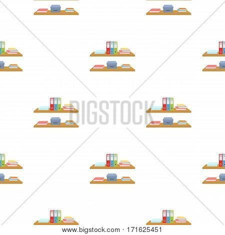 Office shelves with file folders icon in cartoon style isolated on white background. Office furniture and interior pattern vector illustration.