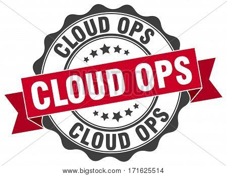 cloud ops. stamp. sign. seal. round. retro. ribbon