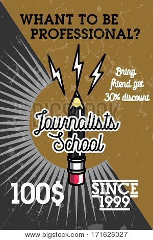 Color vintage journalists school banner. Mass media and press conference.