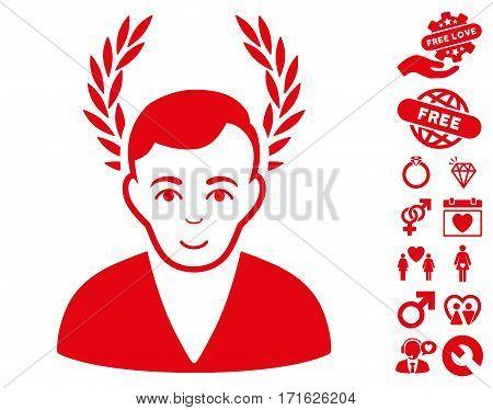 Man Glory icon with bonus decoration symbols. Vector illustration style is flat iconic red symbols on white background.
