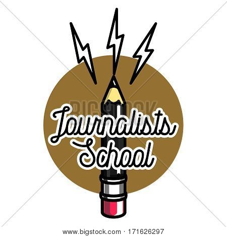 Color vintage journalists school emblem, label, badge and design elements. Mass media and press conference.