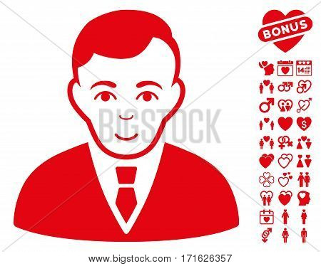 Manager pictograph with bonus passion pictograph collection. Vector illustration style is flat iconic red symbols on white background.