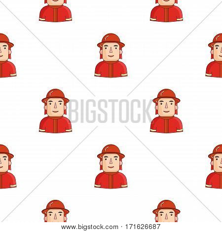 Firefighter icon in cartoon style isolated on white background. People of different profession pattern vector illustration.