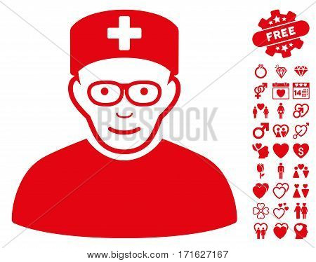 Medical Specialist icon with bonus marriage images. Vector illustration style is flat iconic red symbols on white background.