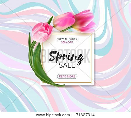 Spring sale background with realistic vector tulips. Template for banners, flyers, invitation, voucher, discount, posters, brochure. White plate on delicate colors marble background