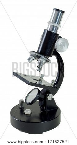 Image of a microscope over white background