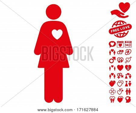 Mistress icon with bonus love pictures. Vector illustration style is flat iconic red symbols on white background.