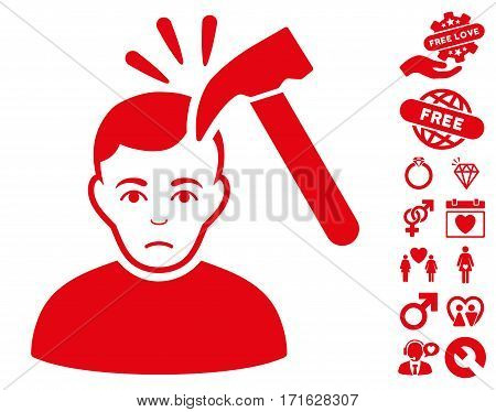 Murder With Hammer pictograph with bonus marriage graphic icons. Vector illustration style is flat iconic red symbols on white background.