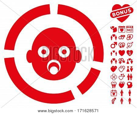 Newborn Diagram pictograph with bonus romantic graphic icons. Vector illustration style is flat iconic red symbols on white background.