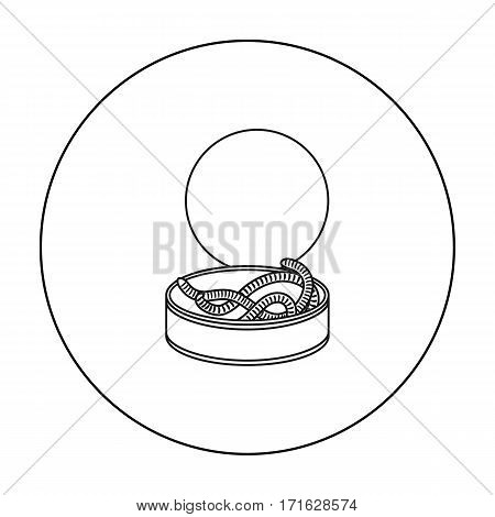Tincan full of worms icon in outline design isolated on white background. Fishing symbol stock vector illustration.