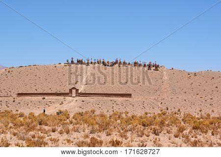 Cemetery in the Argentine desert in altitude