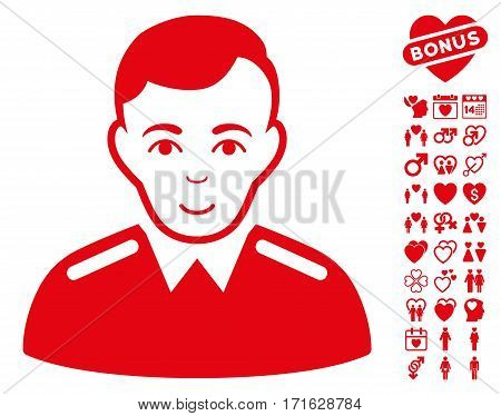 Officer pictograph with bonus love icon set. Vector illustration style is flat iconic red symbols on white background.