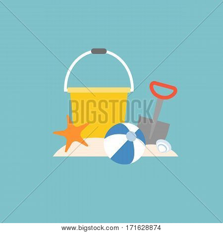 beach toys, pail, shovel, starfish and beach ball with bucket, flat design