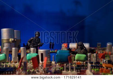 Cyber terrorism concept. Deep dark blue background